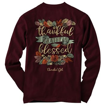 Cherished Girl Thankful Grateful Blessed Fall Long Sleeve Girlie Christian Bright T Shirt