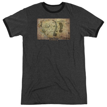 The Hobbit Middle Earth Map Charcoal Ringer T-Shirt
