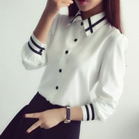 Women Blouses New Arrival Fashion 2016 Autumn Korean Style Long Sleeve Sequin Chiffon Ladies Office Shirt White Blue Tops Formal