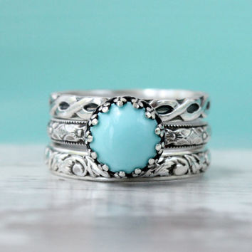 Turquoise ring set of 3 stackable sterling silver rings, light blue, stack rings, crown setting, princess ring, vintage style, handmade