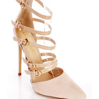 Nude Strappy Single Sole Pointed Toe Heels Faux Suede