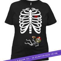 Halloween Pregnancy Shirt Maternity T Shirt Expecting Announcement Pregnant Skeleton Costume TShirt Football Baby Outfit Ladies Tee MAT-801