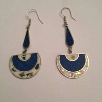 Vintage Lapis Alpaca Silver Abalone Dangle Earrings Mexico Jewelry