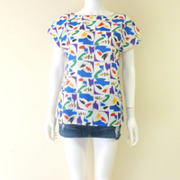 Colorful Abstract Print Vintage Womens Shirt 1980s Light Weight Colorful Pattern Summer Top Medium