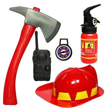 Boys Pretend Play Toys Fireman Toy Fireman Cosplay GamesHat Axe Crowbar Fire Extinguisher Set Educational Toy Gift For Children