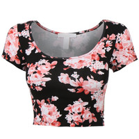 Pink Floral Print Cap Sleeve Cropped Top