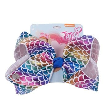 "8"" Mermaid Hair Bows With Clips For Kids Girl Boutique Printed Metallic Leather Hair Bows Hairgrips Hair Accessories"