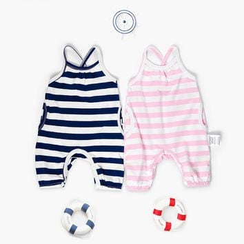 2018 Spring Summer Baby Rompers Baby Boy Girl Striped Jumpsuit High Quality Overalls Infant Clothing Baby Clothes 0-2Y Drop Ship