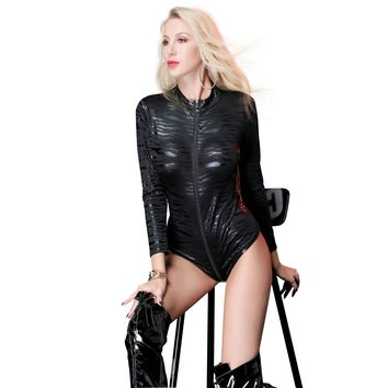 Women Sexy Lingerie PVC Faux Leather Snake Skin Serpentine Print Long Sleeve Bodysuit Skinny Night Bra Stage Dancer Costumes