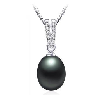 ON SALE - CZ Accented Tahitian Black Genuine Freshwater Pearl Drop Necklace