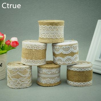 2Meter Jute Burlap rolls Hessian Ribbon with Lace roll vintage rustic wedding decoration burlap wedding cake topper DIY ornament