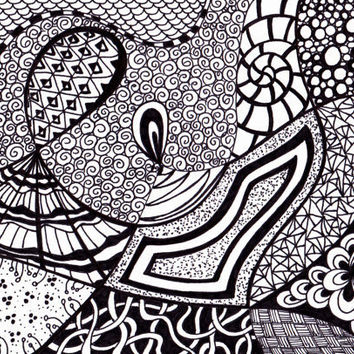 Zentangle Inspired Art- Printable, Abstract Art Ink Drawing, Black and White by JoArtyJo