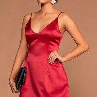 Selena Red Satin Dress