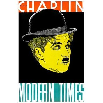 MODERN TIMES movie poster CHARLIE CHAPLIN colorful profile VINTAGE 24X36