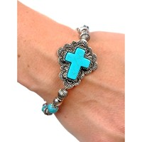 Chrissys Cross Stretch Braclet, Silver-Turquoise