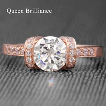 Genuine 1 Carat F Color Lab Grown Moissanite Diamond Engagement Wedding Ring Bezel Setting Solid 14K  585 Rose Gold For Women