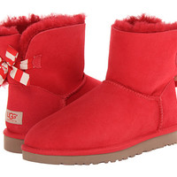 UGG Mini Bailey Bow Stripe Red Twinface - Zappos.com Free Shipping BOTH Ways