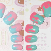 Glue On Nails Set of 2 Cotton Candy Sugar Sweets by NailKandy