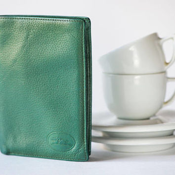 Vintage Longchamp Wallet viridian green. Unisex Bi Fold Wallet Finest Leather. Classic Genuine Leather Cards Wallet. Embossed Logo Wallet