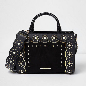 Black studded scallop cross body tote bag