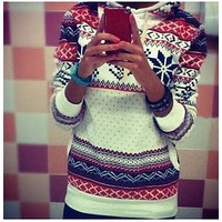 2016 Fashion Women pullover sweaters christmas jumper spring winter long sleeve hooded style casual print womens sweater tops