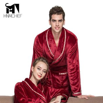 robe brand-clothing bathrobe men Autumn winter thick long flannel men's bathrobe male coral fleece robe lengthen plus size solid