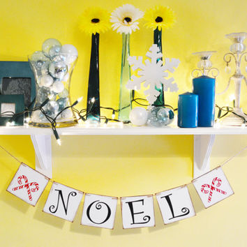 Noel Banner - Christmas Banner - Holiday Decorations - Photo Prop - Garland Sign - Party Decor - Bunting - Black and Red