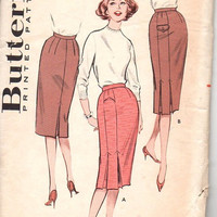50s Retro Wiggle Pencil Skirt Butterick 9208 Sewing Pattern Slim Fit Inverted Front Kick Pleat Waist 28