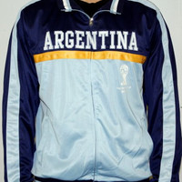 Men's 2014 FIFA World Cup Soccer Hat Trick Argentina Yoke Track Jacket (Adult Large)