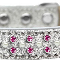Sprinkles Ice Cream Dog Collar Pearl and Bright Pink Crystals Size 20 Silver