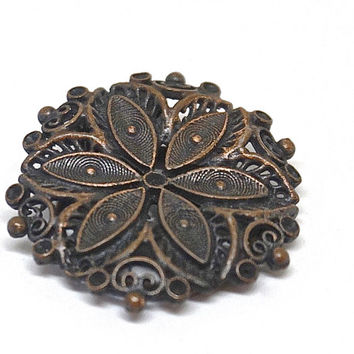 Vintage Scarf Ring,Antiqued Bronze Tone Scarf Clip,Filigree Style Scarf Slide,Shawl Clip,Scarf Jewelry, Round Scarf Holder,Holiday Gift Idea