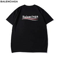 Balenciaga Summer New Fashion Bust And Back Letter Print Leisure Women Men Top T-Shirt Black