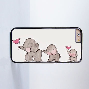 Cute Elephant Walking Plastic Case Cover for Apple iPhone 4 4s 5 5s 5c 6 6s Plus