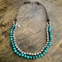 "Turquoise Necklace Multi Strand, Rustic Silver, Knotted Bohemian Jewelry ""Boho Chic"""