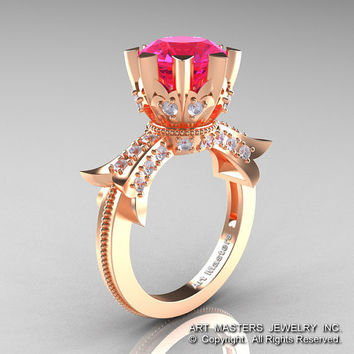 Modern Vintage 14K Rose Gold 3.0 Ct  Pink Sapphire Diamond Solitaire Engagement Ring R253-14KRGDPS