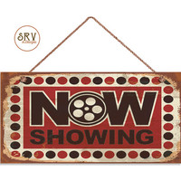 """Retro CINEMA Sign, NOW SHOWING Rustic Decor, Movie Theater Decor, Weatherproof, 5"""" x 10"""" Sign, Movie Film Plaque, Made To Order"""