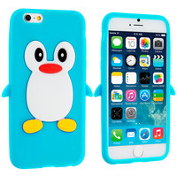 Baby Blue Penguin Silicone Design Soft Skin Case Cover for Apple iPhone 6 (4.7)