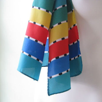 Blue/Red/Yellow/Green/Teal Stripe Vintage Scarf - Striped Silk Head Scarf - Pop of Color Striped Neck Scarf - Striped 1960s Mod Scarf