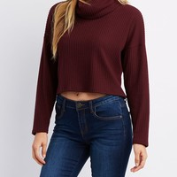 Ribbed Cowl Neck Crop Sweater | Charlotte Russe