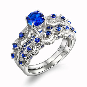 New Wavy Design Solid 925 Sterling Silver Wedding Ring Sets Engagement Band Blue CZ Eternal Classic Fine Jewelry For Women