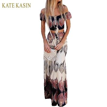 Kate Kasin Bohemian Style Long Dress Beach Dress Summer Boho Dress Multicolor Print Off The Shoulder Ruffle Two Piece Maxi Dress