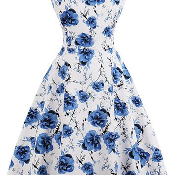 Atomic Blue Sleeveless Bloom Swing Dress