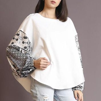 Bell Tower Top - Ivory/Black