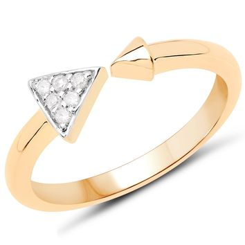 LoveHuang 0.04 Carats Genuine White Diamond (I-J, I2-I3) Arrow Ring Solid .925 Sterling Silver With 18KT Yellow Gold Plating