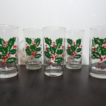 Vintage Indiana Glass Holiday/Christmas Holly Print Glasses/Tumblers/Cocktail Glasses - Set of 5