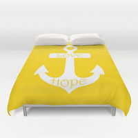 Love Hope Anchor Freesia Yellow Duvet Cover by BeautifulHomes   Society6