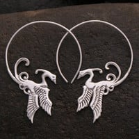 Phoenix Hoop Earrings - Bird Hoops - solid sterling silver
