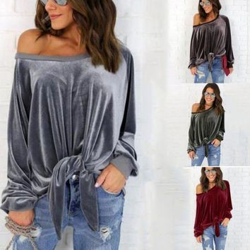 Women Velvet Blouses Long Sleeve Off Shoulder Shirt Bandage Sexy Loose Blouse Shirts Blusas Tops Femme Blusas Plus Size