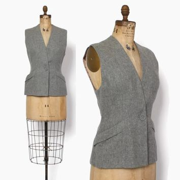 Vintage 40s Charcoal Wool Vest TOP / 1940s Sleeveless Gray Fitted Top with Pockets