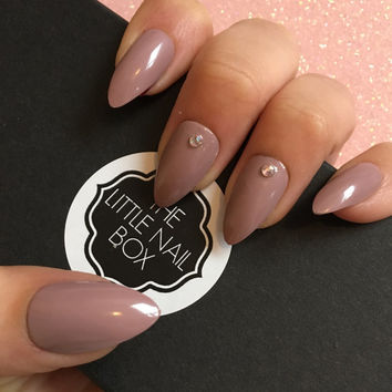 Nude simple Swarovski press on stiletto nails